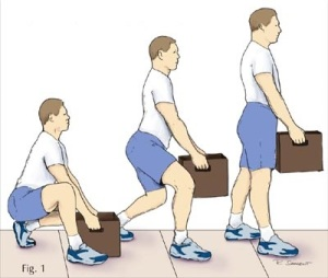 Fig. 1 - Fingerkinesis training exercise: Lift a small box while wearing small shorts.